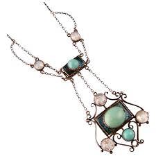 turquoise stones necklace images Art nouveau necklace with turquoise stones enameling and pastes jpg