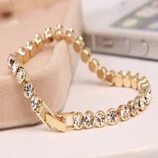 beaded chain bracelet images Trendy romantic lady gold plated crystal zircon beaded chain jpg
