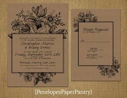 kraft paper wedding invitations vintage floral kraft paper wedding invitation floral