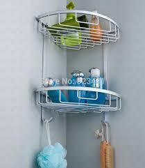 Bathroom Basket Storage by Space Aluminium Dual Tier Bathroom Basket Corner Shelf Rack Hook