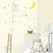 stikers chambre bebe decoration stickers chambre bébé lapins blans sympas stickers