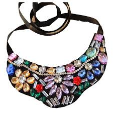 collar bib necklace images Cirgen fashion cloth neck chokers handmade ribbon acrylic crystal jpg