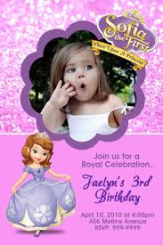 Editable 1st Birthday Invitation Card Sofia The First Birthday Invitations Marialonghi Com