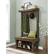 Grey Entryway Table by Wildwood Rustic Grey Entryway Hall Tree With Storage Bench