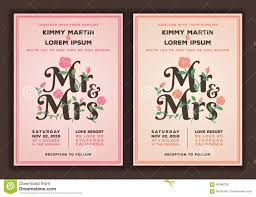 mr and mrs title with flower wedding invitations template stock