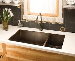 awesome rectangle shape bronze color undermount kitchen sink with