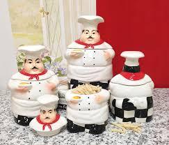 amazon com bistro fat chef canister set ceramic kitchen decor