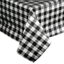 black checkered vinyl table cover with flannel back