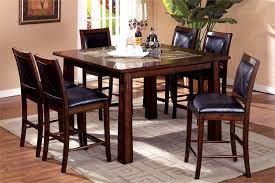 living stone iii tobacco oak counter dining table set w stone top