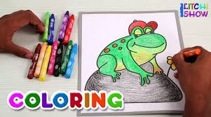 coloring with crayons coloring the frog with crayons coloring