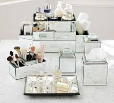 mirrored bathroom accessories mirrored bath accessories pottery barn