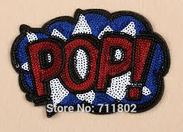 pop iron on patches sequin sparkling expression shine biker