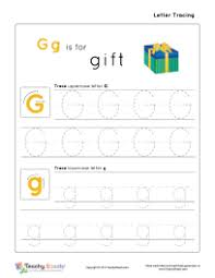 gg is for gift preschool tracing letter g g worksheet for more