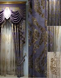 Gold Satin Curtains Gold And Purple Curtains Swag Rose Patterned Romantic Bedroom Best