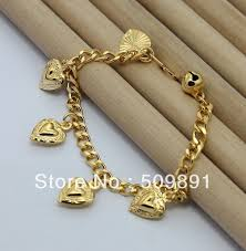 gold bracelet with heart charms images Ba1191 fashion male jewelry 24 carat gold colou 8mm snake chain jpg