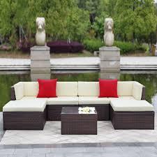 Furniture Sofa Set Ikayaa 7pcs Cushioned Outdoor Patio Garden Furniture Sofa Set