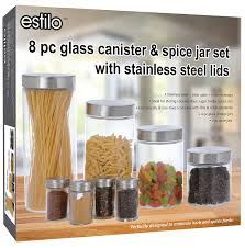amazon com estilo 8 piece glass canisters and spice jar set with