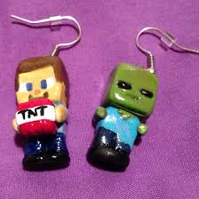 minecraft earrings polymer clay minecraft earrings made by trudie clays clay is