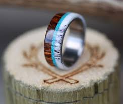 antler wedding ring the banner wood wedding band with antler and turquoise