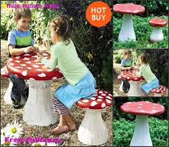 Childs Patio Set by Kids Garden Table Set Stools Furniture Seats Mushroom Plastic Play