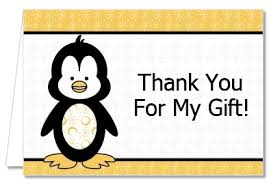 penguin baby shower baby shower thank you cards penguin thank you notes