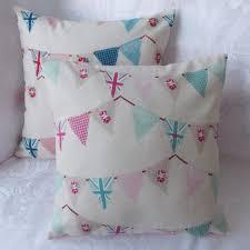 Blue Union Jack Cushion Handmade Fryetts Bunting Union Jack Cushion Pillow Cover Pink Or