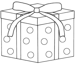 gifts coloring pages black white cartoon illustration