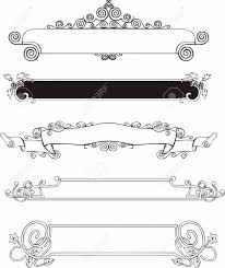 five slim ornamental decorative panels for book covers or title