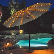 traditional outdoor umbrella lights with swimming pool and