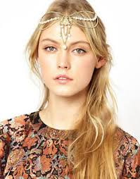 chain headband boho women pearl gold wedding headdress headband band crown