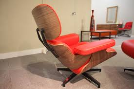 Ottoman Red by Eames Replica Lounge Chair And Ottoman Red And Walnut U2013 Consign