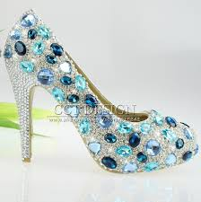 Light Blue High Heels Dhl Free Shipping Diamond And Crystal Woman Light Blue High Heel