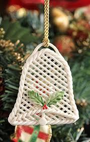 ornaments basket weave bell shaped belleek ornament crossroads
