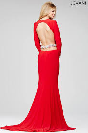 jovani 31507 red long sleeve cut out prom dresses 31507