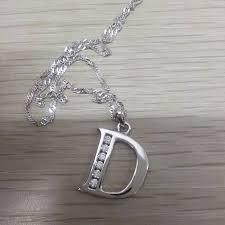 silver letter necklace pendants images Sterling silver alphabet necklace letter a b c d e f g h i jpg