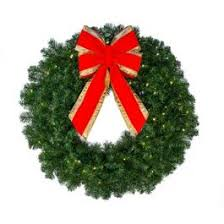 christmas tree with white lights and red bows 36 deluxe oregon fir wreath lit