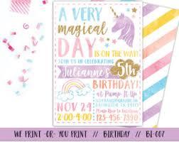 birthday invitations unicorn birthday invitation etsy