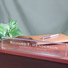 etched glass desk name plates bossesday personalized executive desk name plates personalized