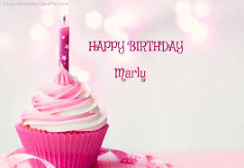 happy birthday cupcake candle pink cake for marly