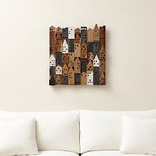 Crate And Barrel Home Decor Village Wood Wall Art Crate And Barrel