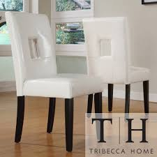 Dining Chair Deals Tribecca Home Mendoza White Keyhole Back Dining Chair Set Of 2