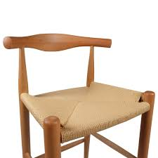hans wegner ch33 style elbow bar stool with rattan seat