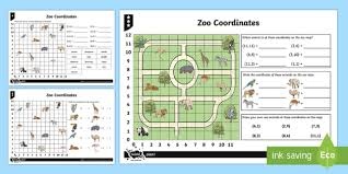zoo coordinates activity sheets position direction