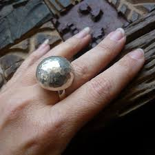 silver ball rings images Hammered sterling silver ball shape statement ring half jpg
