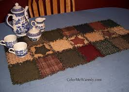 rag quilt table runner colonial primitive colors homespun