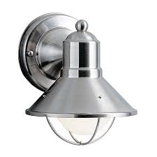 Lowes Bathroom Light Fixtures Brushed Nickel - shop kichler seaside 7 5 in h brushed nickel outdoor wall light at
