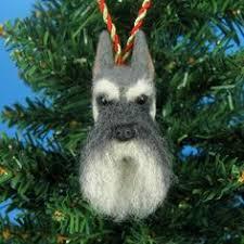 schnauzer ceramic jolly santa snowflake ornament