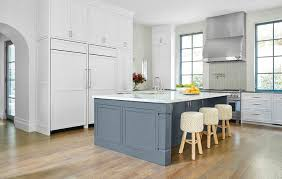 blue kitchen island white and gray kitchen with slate blue center island