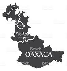 hidalgo tlaxcala puebla oaxaca map mexico illustration stock
