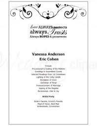 formal wedding programs printable poetic program template